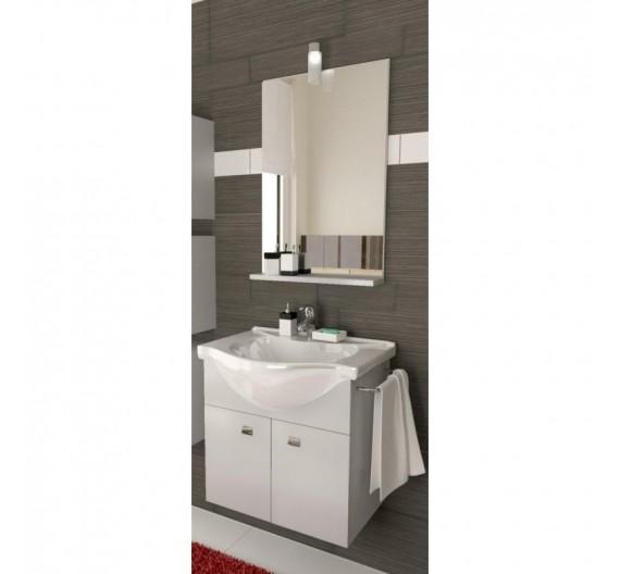 Mobile bagno sospeso Grigio cm.57 con lavabo in porcellana e specchio
