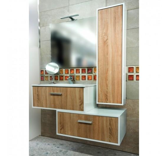 Mobile bagno Luna bianco rovere sospeso composto da mobile lavabo in porcellana e specchio