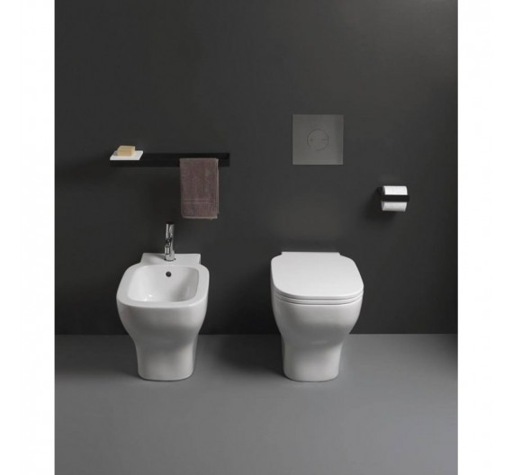 Vaso Filomuro serie Cubika Cuvax scarico terra/parete Porcellana bianca Cielo
