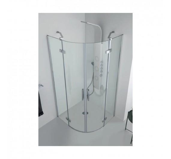 Box doccia 90x90 cm in cristallo semicircolare ad ante battenti 8mm