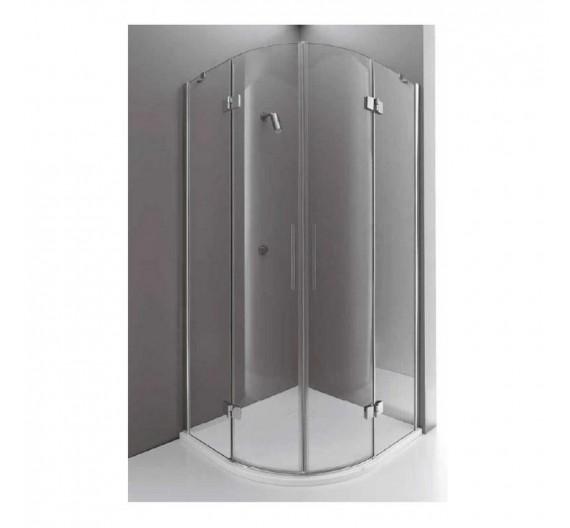 Box doccia 100x100 cm in cristallo semicircolare ad ante battenti 8mm