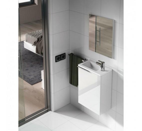 Mobile bagno sospeso incluso di lavabo per piccoli spazzi bianco 40cm