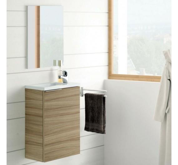 Mobile bagno sospeso incluso di lavabo per piccoli spazzi Nature 40cm