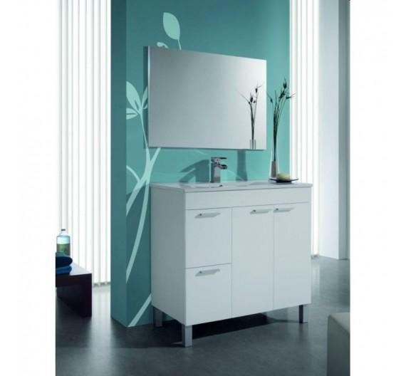 Mobile bagno a terra incluso di lavabo e specchio 80 cm moderno