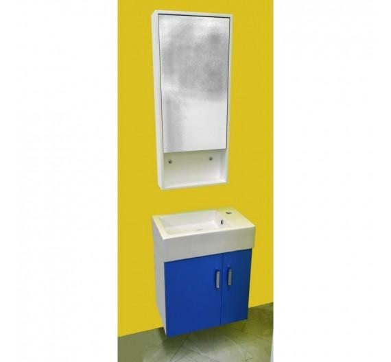 MOBILE BAGNO SOSPESO 53 cm con specchio armadio lavabo in porcellana colore blu