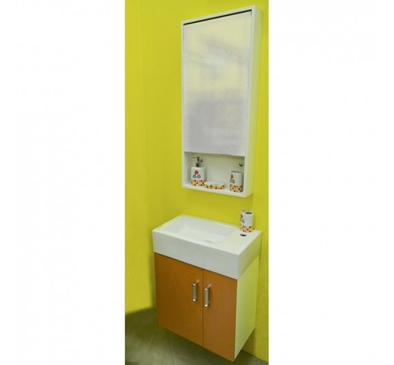 MOBILE BAGNO SOSPESO 53 cm con specchio armadio lavabo in porcellana  Giallo