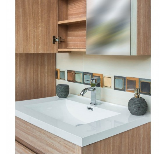 Mobile bagno AB 760 Rovere Sospesa 3 pezzi composta da mobile lavabo e specchio