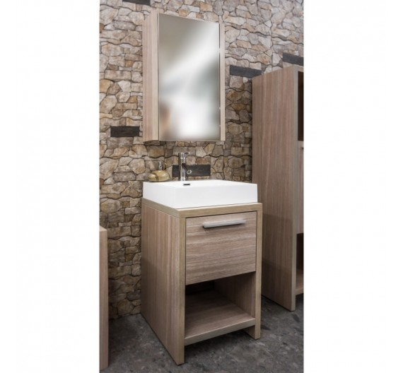 Mobile bagno Wenge Rovere serie terra 3 pezzi  mobile bagno lavabo e specchio