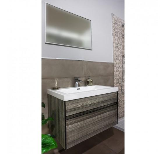 Mobile bagno Grigio chiaro lucido sospes 3 pezzi Mobile Lavabo e Specchio