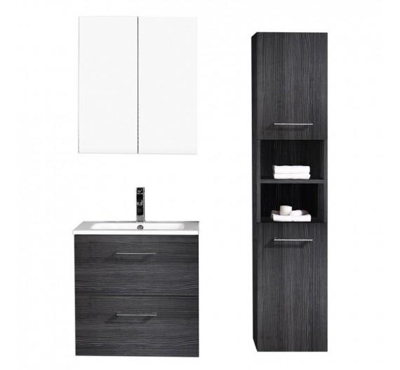 Mobile bagno sospeso  con lavabo specchiera e colonna inclusa Rovere Antracite