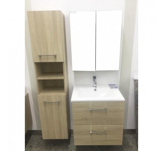 Mobile bagno sospeso  con lavabo specchiera e colonna inclusa Rovere Wenge