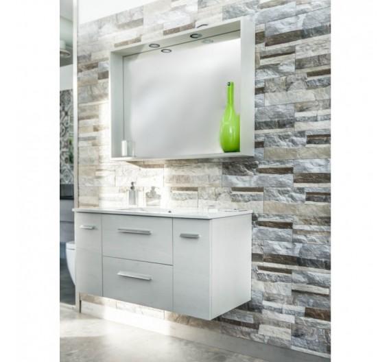 Mobile bagno Alba Sospesa 100 cm Olmo Bianco con Mobile Lavabo e Specchio
