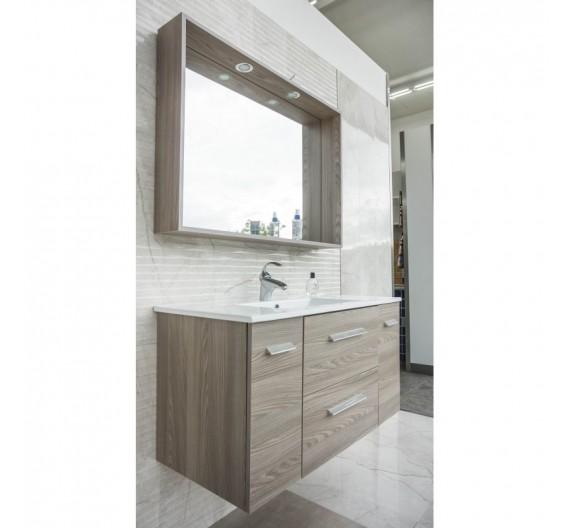 Mobile bagno Alba Sospesa 100 cm Olmo Grigio con Mobile Lavabone e Specchio