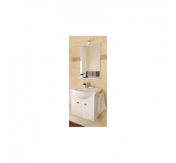 Mobile bagno sospeso bianco cm.57 con lavabo in porcellana e specchio