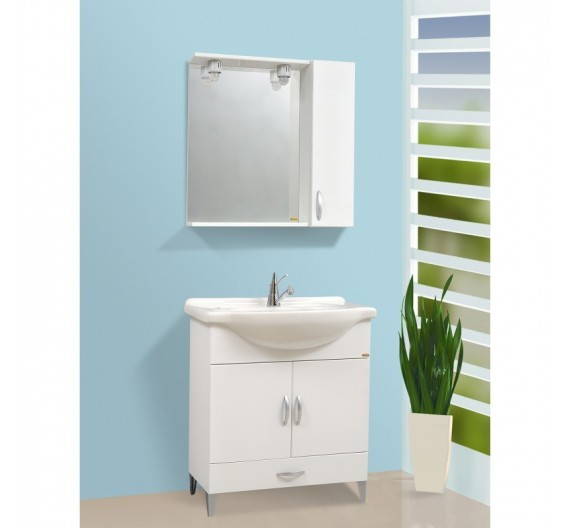 Mobile bagno bianco  da 75 cm a terra con lavabo specchiera e illuminazione