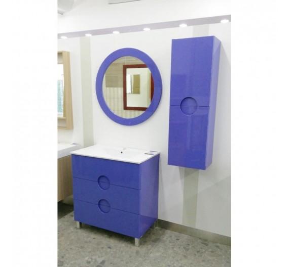 Mobile bagno 80 cm con Lavabo Pensile e Specchiera Violetta