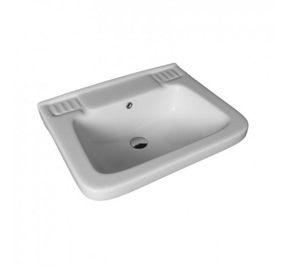 Lavabo quadrato mod Universale in porcellana bianca 50 cm