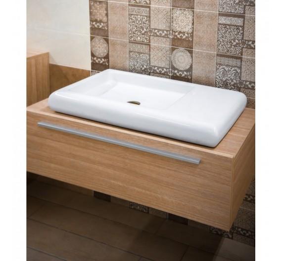Lavabo da appoggio  79 x 42 cm ceramica sanitari bagni moderni rettangolare