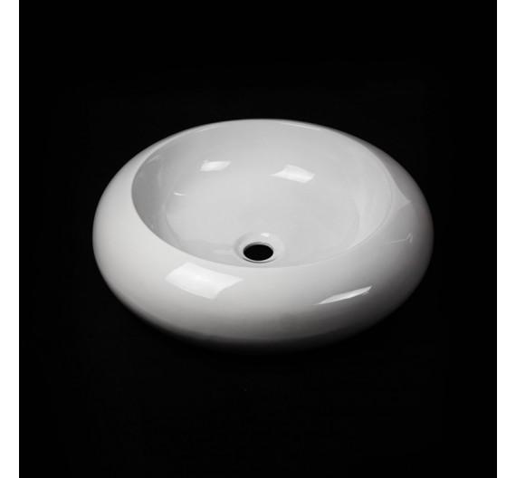 Lavabo da appoggio 50 cm circolare ceramica bianca