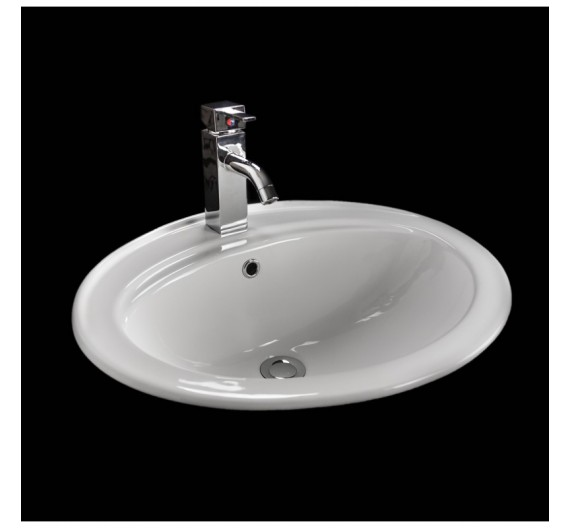 Lavabo ad incasso 56 cm circolare bianco porcellana