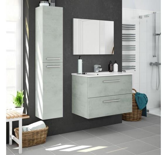 Mobile bagno sospeso incluso di lavabo  2 cassetti 80 cm colore Cemento