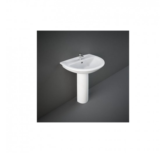Lavabo Rak Karla 65x51 cm in porcellana bianca circolare