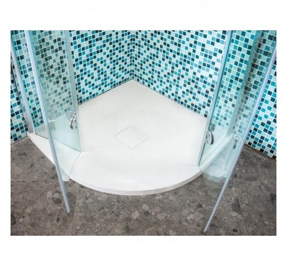Piatto doccia 80x80 in marmo resina bianco semicircolare altezza 3,5 cm