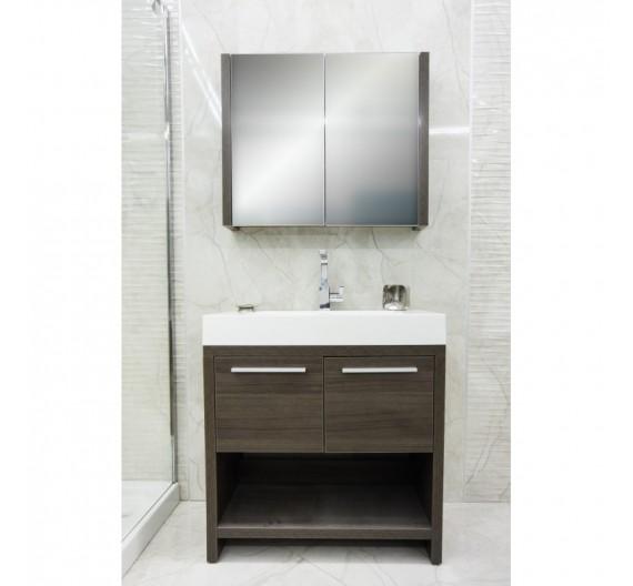 Mobile bagno L-800 Wenge Grigio 80 cm con lavabo porcellana e specchio