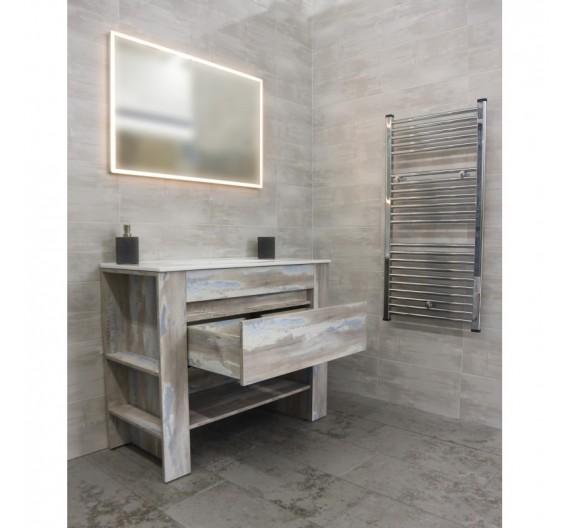Mobile bagno Vintage Grigio 100 cm Tr4530-1000-Y27 mobile lavabone in porcellana  specchio con illuminazione led