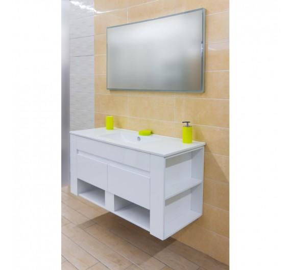 Mobile bagno sospeso Bianco lucido 120 cm TR4530-1200-Y12 con lavabone top in porcellana specchio con illuminazione led