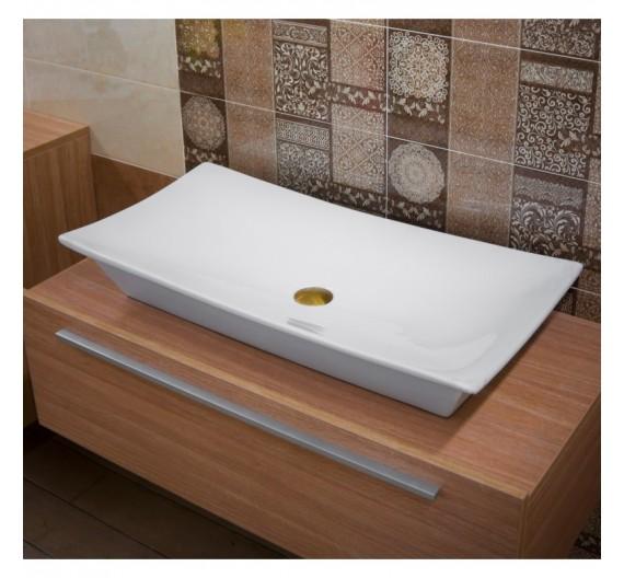 Lavabo da appoggio 80 x 40 cm ceramica sanitari bagni moderni rettangolare