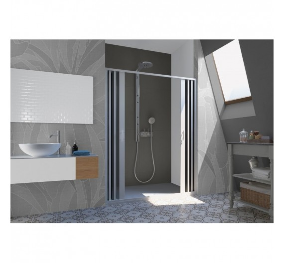 Box doccia Flex 180-160 cm porta centrale a soffietto   bianco pastello in PVC
