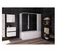 Box doccia Flex 170-140x70-50 cm sopravasca soffietto bianco pastello in PVC