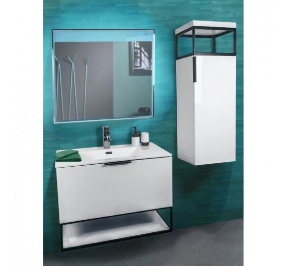 Mobile bagno sospeso incluso di lavabo e colonna 80 cm Nuvola