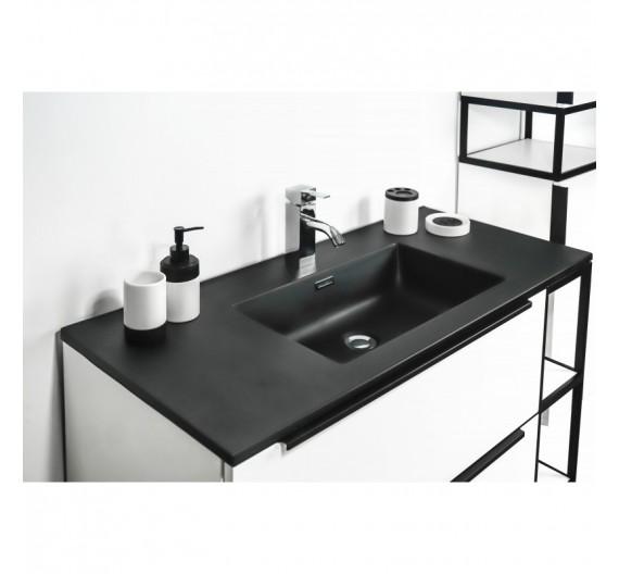 Mobile Bagno bianco lucido Incluso di Lavabo Nero Colonna e Specchio Minimal Mug1804
