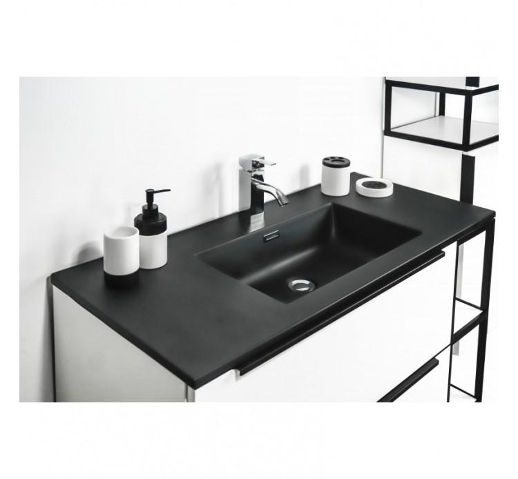 Mobile bagno bianco lucido incluso di lavabo nero colonna for Mobile bagno minimal