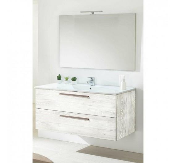 Composizione mobile bagno sospeso 100 cm Angela quercia bianca