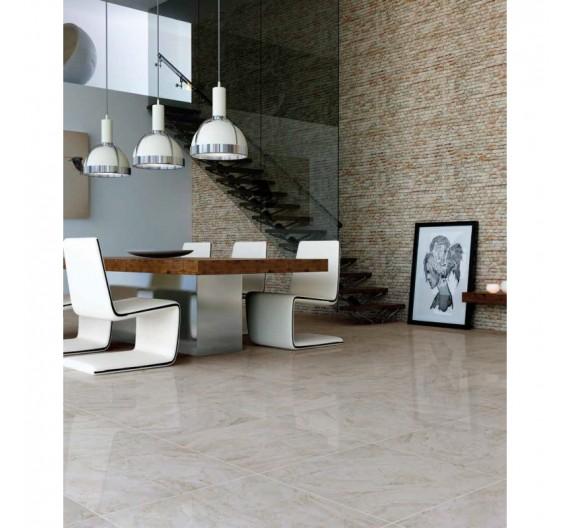 Pavimento per interno in Gres porcellanato 60,8x60,8  Dune Marfil effetto marmo Smaltato lucido