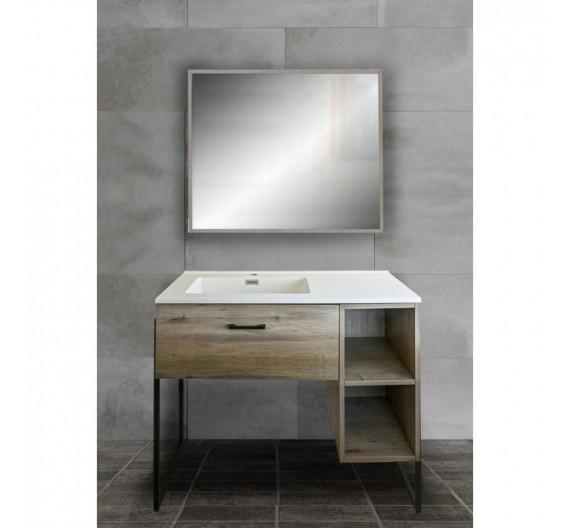 Mobile bagno 100 cm Norway grigio incluso di lavabo e specchio