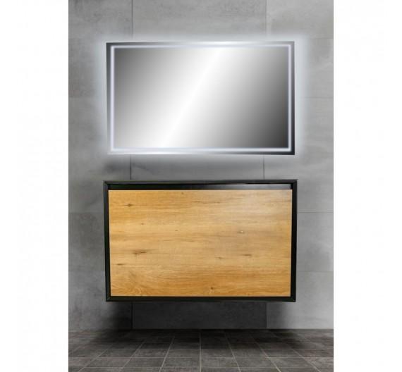 Mobile bagno Sospeso  90 cm Felix 900 Rovere incluso di lavabo specchio LED