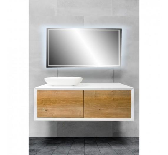 Mobile bagno sospeso 120 cm Fiona Rovere Bianco incluso di lavabo a sinistra e specchio LED