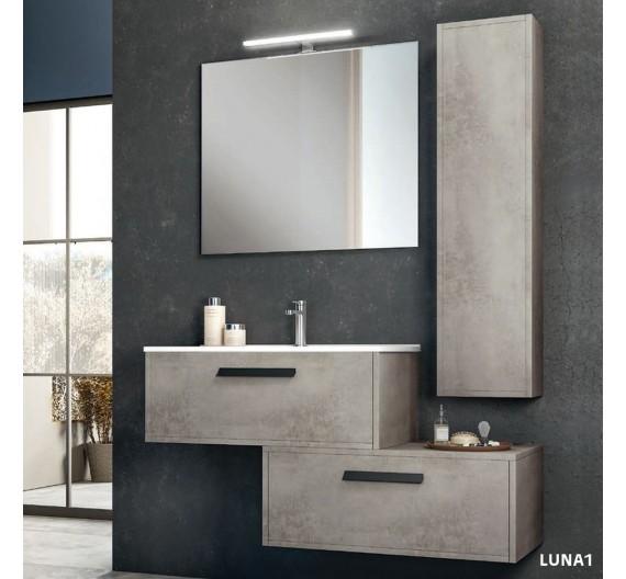Mobile bagno Luna 80 cm Cemento sospeso composto da mobile lavabo in porcellana e specchio
