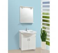 Mobile bagno bianco  da 65 cm a terra con lavabo specchiera e illimuminazione