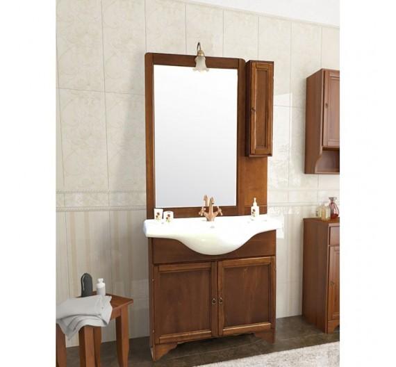 Mobile bagno a terra Eco Noce Arte Povera 85 cm lavabo in porcellana specchiera e pensile