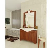 Mobile bagno a terra Arte Povera 105 cm lavabo in porcellana specchio e applique