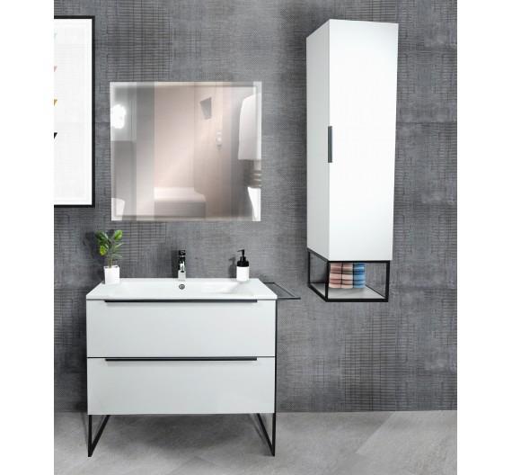 Mobile Bagno bianco Incluso di Lavabo Colonna e Specchio Minimal Mug