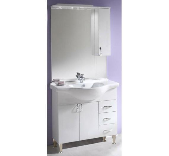 Composizione mobile bagno 85 cm Tiffany bianco incluso di lavabone specchio e led