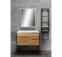 Mobile bagno Sospeso  80 cm Industrial Rovere incluso di lavabo specchio LED e Colonna