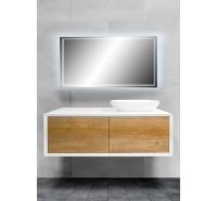 Mobile bagno sospeso 120 cm Fiona Rovere Bianco incluso di lavabo a destra e specchio LED