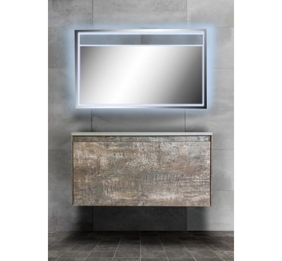 Mobile bagno sospeso 90 cm Slim legni grigi  incluso di lavabo e specchio LED